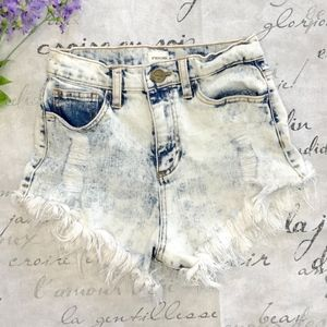High Waisted Distressed Denim Shorts